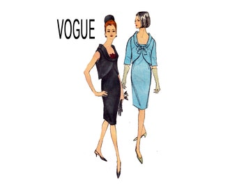 1960s Vintage Vogue Sheath Dress with Cutaway overblouse Size 12 Bust 32 Vogue 6383 U shape spring jacket classic fashion