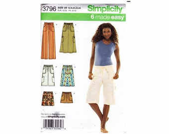 Skirt and Pants in 3 Lengths Pants Capris Shorts Maxi Midi Mini Skirt UNCUT Sizes 16 18 20 22 24 Sewing Pattern OOP Simplicity 3796