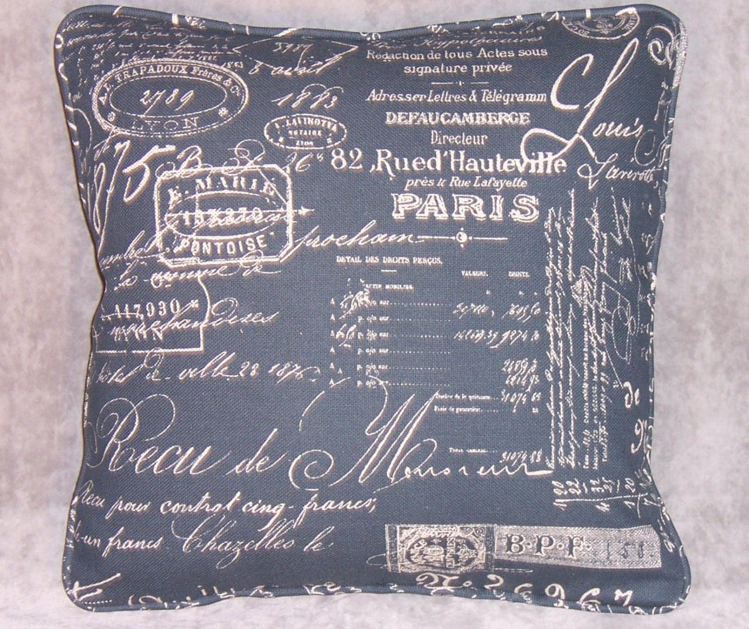 Throw Pillows With French Script : French Script Throw Pillow Navy Blue 17 Square by PillowDetails