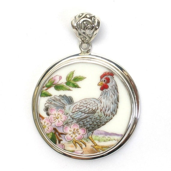 Broken China Boehm Blue Hen Chicken & Peach Blossom Flower (Delaware) Sterling Circle Pendant