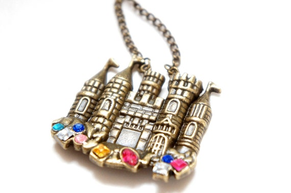 SALE Princess Fairy Tale Castle with Colorful Rhinestone Necklace in Antiqued Brass Chain