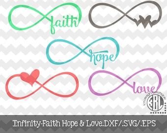 Infinity Faith, Hope, and Love.DXF/.SVG/.EPS File for use with your Silhouette Studio Software