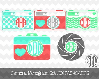 Camera Mongoram Set Files .DXF/.SVG/.EPS Files for use with your Silhouette Studio Software