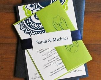 Navy And Lime Green Beach Wedding Invitations Destination