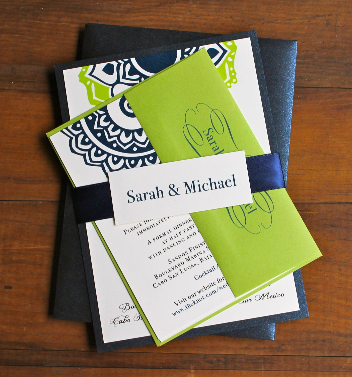Navy And Lime Green Beach Wedding Invitations Destination