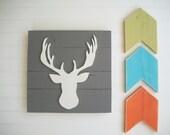 Antler Nursery . Deer Head . Antler Sign . 3D Sign . Country Nursery . Lodge .Wood Deer Sign . Antlers . Tribal Nursery Art . Woodland Decor