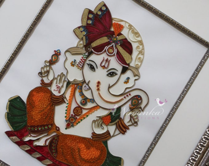 Made to Order Handmade Paper Quilling Ganesha UNFRAMED Wall Art