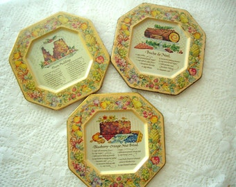 Avon Vintage English Recipe Wall Tins signed 1982 set of 6