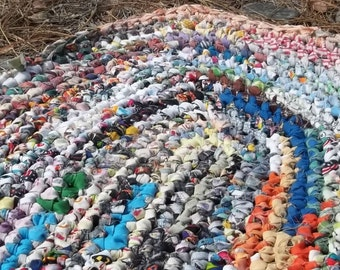 Multi Color Oval Crocheted Rag Rug
