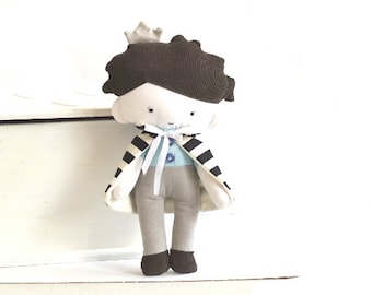 Prince boy doll with cape capelet Rag doll Stuffed toy Stuffed doll Plushie Softie Black white stripes striped turquoise 9.8 inch 25 cm