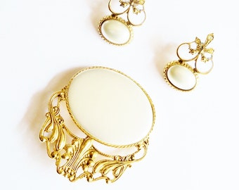 Vintage Brooch and Earrings Set Statement Wedding Jewelry Bridal Sash Jewellery Party Prom Opera