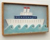 Framed Ship Art Folk Art Ocean Liner Nautical Decor Nursery Wall Art kids Room