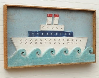 Framed Ship Art Folk Art Ocean Liner Nautical Decor Nursery Wall Art kids Room