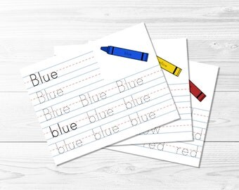 Color Tracing Pages -- Colour, Writing Practice, Kindergarten, Learn to Write, Homeschool Supplies, Educational, Printable, Instant Download