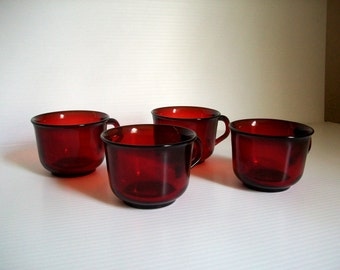 4 vintage red glass cups | Ruby Red Arcoroc of France | red glassware tea cups | ruby red coffee cups | holiday cups | vintage red tea cups