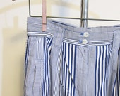 1980s high waist baggy pleated pants - blue and white stripes - tapered legs - size medium - vintage 1980s womens summer fashion