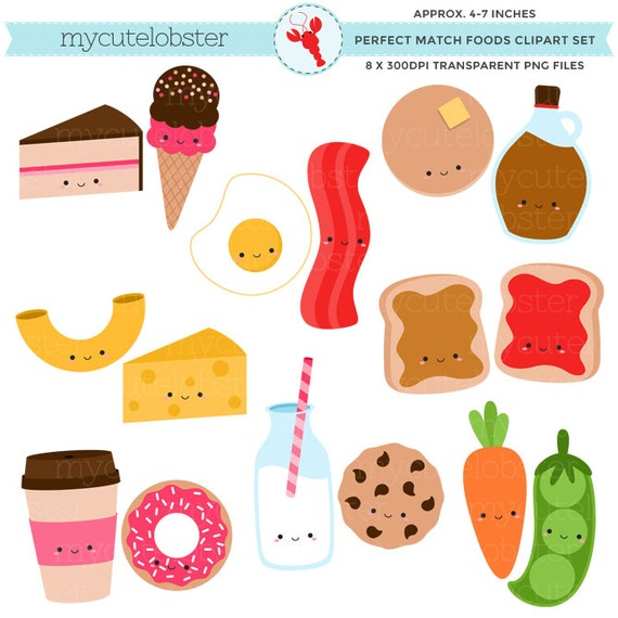 Perfect Match Foods Clipart Set - friendship clip art set, milk, cookies, toast, peas - personal use, small commercial use, instant download