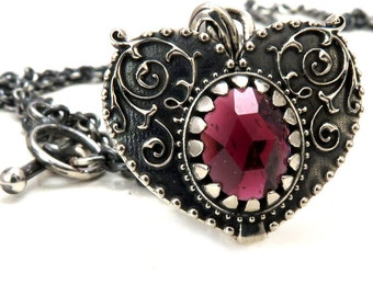 Romantic Gothic Heart Necklace with Rose Cut Garnet and Toggle Clasp - Sterling Silver