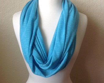 Women's lightweight Infinity Scarf Turquoise Burnout Fabric