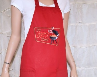 BBQ Time Embroidered Logo Pocket Chef Apron MTCoffinz - Ready to Ship