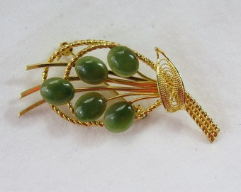 Vintage Jade and Gold Tone Flower Spray Pin or Brooch