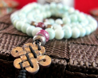 Larimar Gemstone Mala Necklace ~ New Horizons of Opportunities & Divine Fulfimment ~