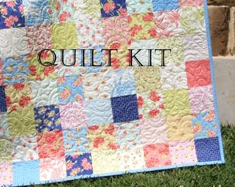 Last one tula pink quilt kit slow and steady free spirit fabrics last one aloha girl quilt kit fig tree moda fabrics precut squares peach pink blue coral beach coastal throw size blanket diy solutioingenieria Images