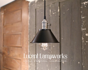 Industrial Lighting With Black Taper Shade