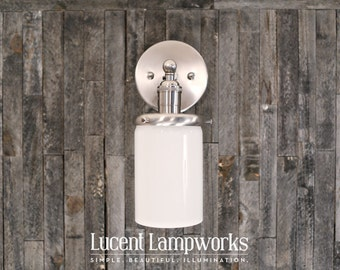 Modern Lighting Sconce with Opal Glass Cylinder Shade