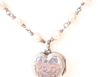 Sterling Silver Vintage Locket with Pink Fresh water Pearls