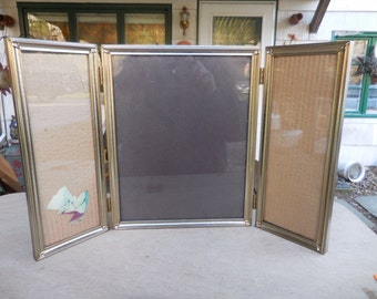Vintage Gold Tone 8X10 With Two Narrow Frames on Side Triple Picture Frame Self Standing Table Top Metal 1950s to 1960s