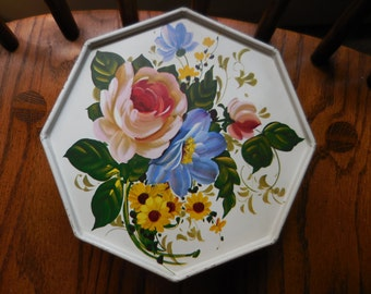 Vintage Off White/Cream Colored Tin Box Octagon Shaped With Flowers/Floral Toleware Looking 1950s to 1960s Sewing