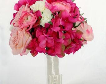 SALE Raspberry Ripple Rustic Bridal Bouquet