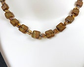 Brown Glass Picasso Beads Necklace Set, 18 1/2 inches (48cm) Long, Classic Hand Knotted Square Beads Necklace with Earrings