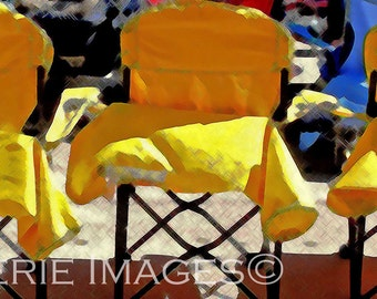 Yellow Chairs, 16x9 Color Photo Poster