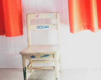 Little White Chair in a Beach House with Orange, Color Photo 5x7 or 8x10