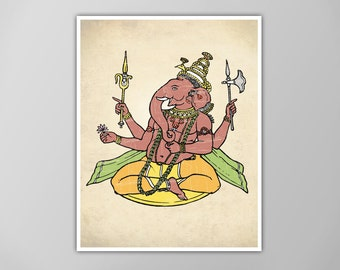 Ganesha Art Print, Ganesh Art Print, Home Decor, Ganesh Poster, Ganesha Wall Art, Hindu Art Home Decor, Antique Style Hinduism Decor, Ganesh