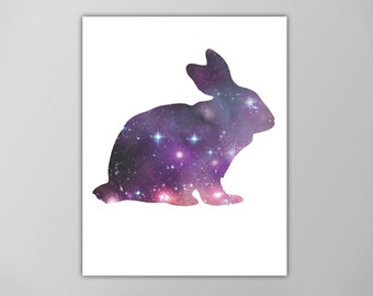 Rabbit Spirit Animal Art Print, Galaxy Bunny Poster,  Astrology Graphic Art, Spirit Guide Poster, Rabbit Art Print, Rabbit Spirit Animal Art