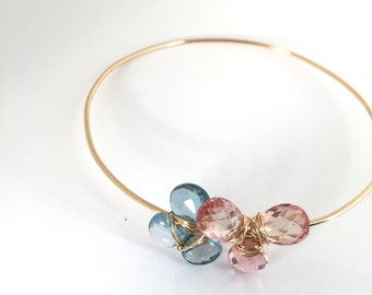 London Blue Topaz, Peach sapphire 14KGold Bangle, Lilyb444, Gifts for her, Jewelry,