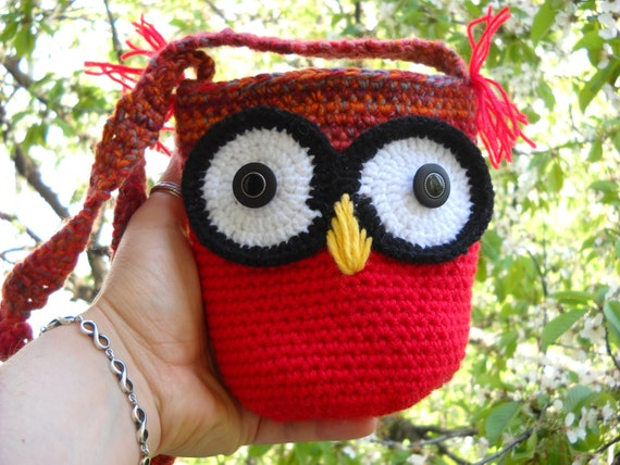 crochet owl bag,amigurumi owl,crochet owl, nursery gifts, handmade owl, Crochet girl Purse Handmade purse girl purse