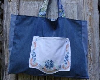 Large Tote Bag,Bohemian Bag,Shopping Bag,Weekend Bag,Market Bag,Shabby Chic Bag,Blue Jean Bag,by Nine Muses Of Crete