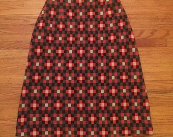 SALE 60's MOD High Waisted Checkered Print Skirt - Unique Twiggy Edie Sedgwick Retro - Wool Blend - Orange Grey Black - Small S