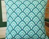 OUTDOOR Aqua Navy Throw Pillow COVERS Decorative Coastal Cushions Pillow for Couch Sofa Patio Beach Pillow Navy Aqua  White All SIZES