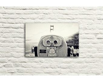 Golden Gate Bridge Photography. San Francisco. Viewfinder. Black and White. Canvas Wall Art. Fog. Home Decor