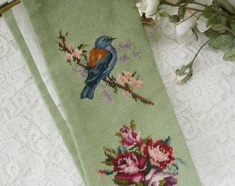 Lovely Hand Embroidered Vintage Bell Pull With Birds And Roses