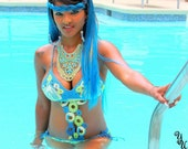Multi-Color--Multi-Ring Handmade Crochet Bathing Suit--AVAILABLE NOW--S/M