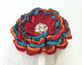 Red Orange Teal Fabric Flower Hair Clip with Swarovski Pearls and Crystals - Sash, Brooch for a Bride, Bridesmaid Gift, Special Occasion