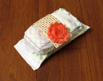 Sale Riley Blake Cream Multi Dot with Matching Coral Frayed Shabby Chiffon Flower