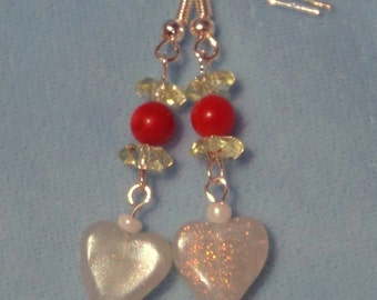 Translucent Polymer Clay Heart Drop Earings In Red and Pale Green