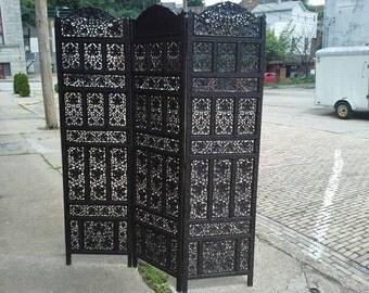 Vintage Ornate Carved Privacy Screen Folding Room Divider